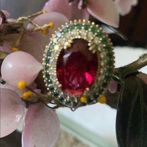 Vintage 925 Mozambique garnet emerald ring
